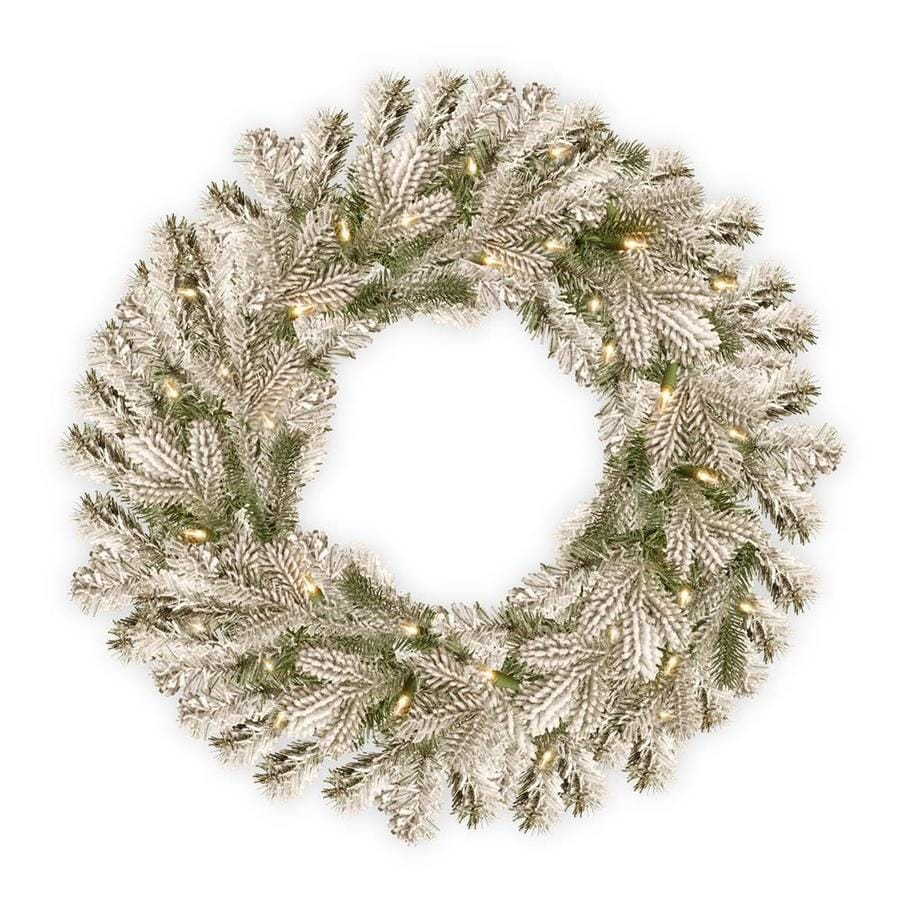 National Tree Company 30 In Pre Lit Outdoor Battery Operated Green Spruce Artificial Christmas Wreath With White Warm Led Lights In The Artificial Christmas Wreaths Department At Lowes Com
