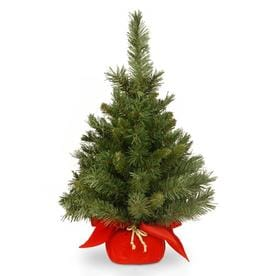 National Tree Unlit 24u0022 Majestic Fir Artificial Christmas Tree in Red Cloth Bag