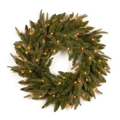 Real Christmas Trees Lowes: National Tree Company 24-in Pre-Lit Outdoor Green Fraser