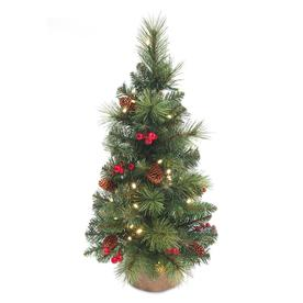 c3da776bb9d National Tree Company 24-in Pre-Lit Miniature Pine Tree with Battery  Operated LED
