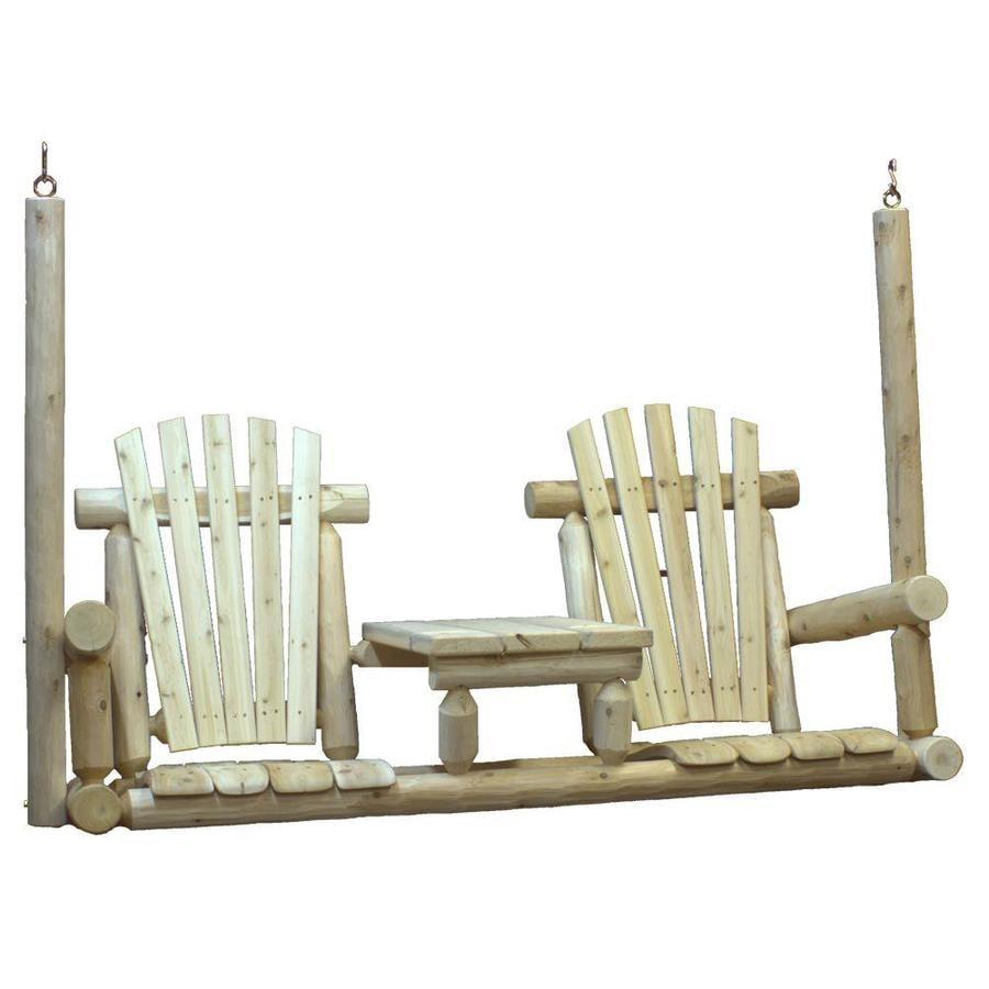 Lakeland Mills 2-Seat Wood Rustic Tete-A-Tete Porch Swing
