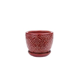 Ceramic Red Pots Planters At Lowes