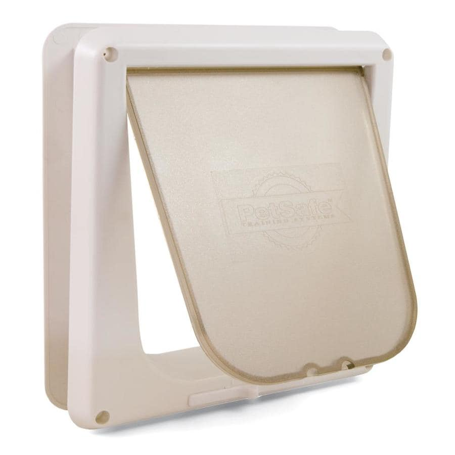 Small White Plastic Pet Door (Actual: 6.5-in x 5.625-in)