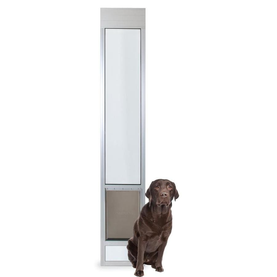 Shop petsafe patio panel large satin aluminum sliding door for Aluminum sliding glass doors
