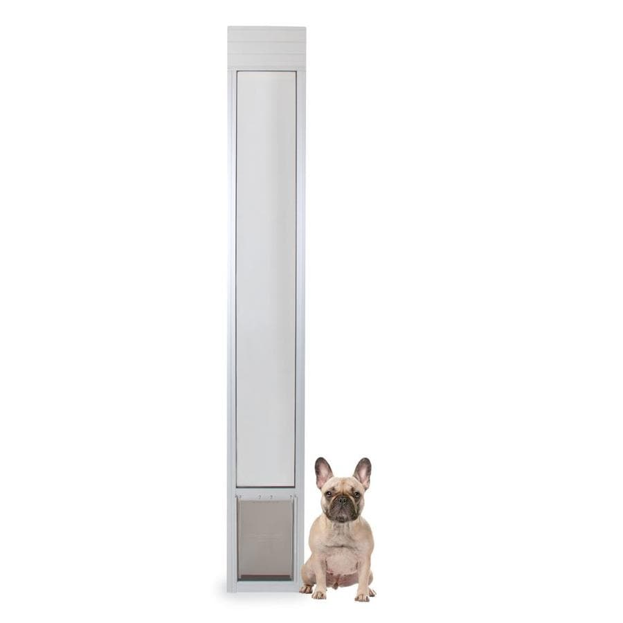 Shop petsafe patio panel medium satin aluminum sliding for Aluminum sliding glass doors