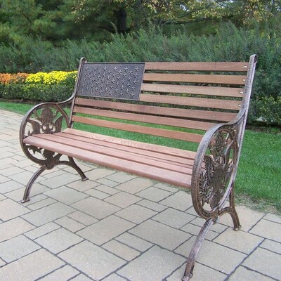 Swell Proud American 24 In W X 50 In L Antique Bronze Patio Bench Bralicious Painted Fabric Chair Ideas Braliciousco