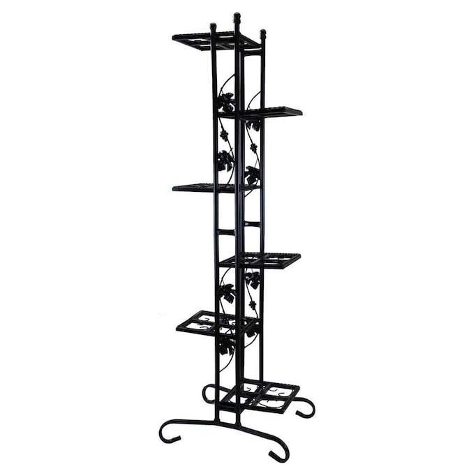 Oakland Living 64 5 In Black Outdoor Rectangular Wrought Iron Plant Stand In The Plant Stands Department At Lowes Com