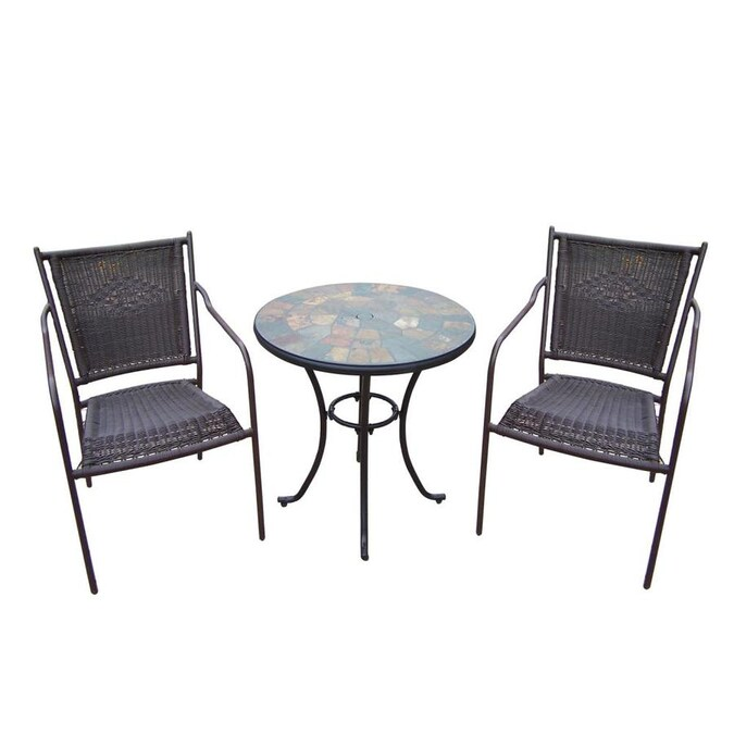 Oakland Living Stone Art 3-Piece Brown Frame Bistro Patio ... on Oakland Living Bistro Set id=38883