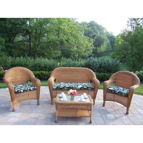 Oakland Living Resin Wicker 4-Piece Metal Frame Patio ... on Oakland Living Patio Sets id=66602