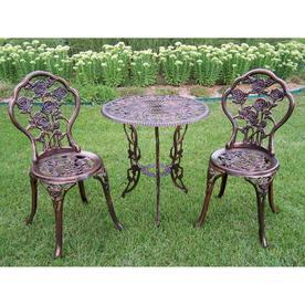 69aa751403ce Oakland Living Tea Rose 3-Piece Antique Bronze Iron Bistro Patio Dining Set