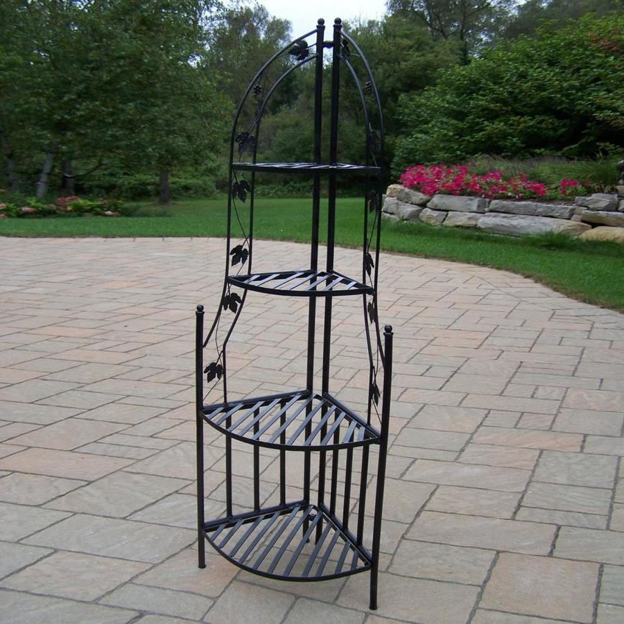 Oakland Living 60 25 In Black Corner Wrought Iron Plant Stand