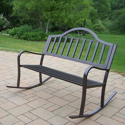 Pleasing Rochester 24 In W X 50 In L Hammer Tone Bronze Iron Patio Bench Bralicious Painted Fabric Chair Ideas Braliciousco