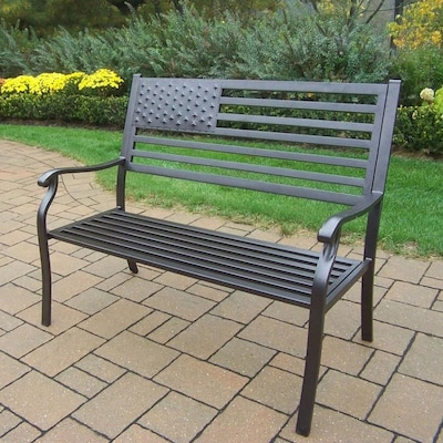 Excellent American Eagle 24 In W X 50 In L Hammer Tone Bronze Iron Patio Bench Bralicious Painted Fabric Chair Ideas Braliciousco