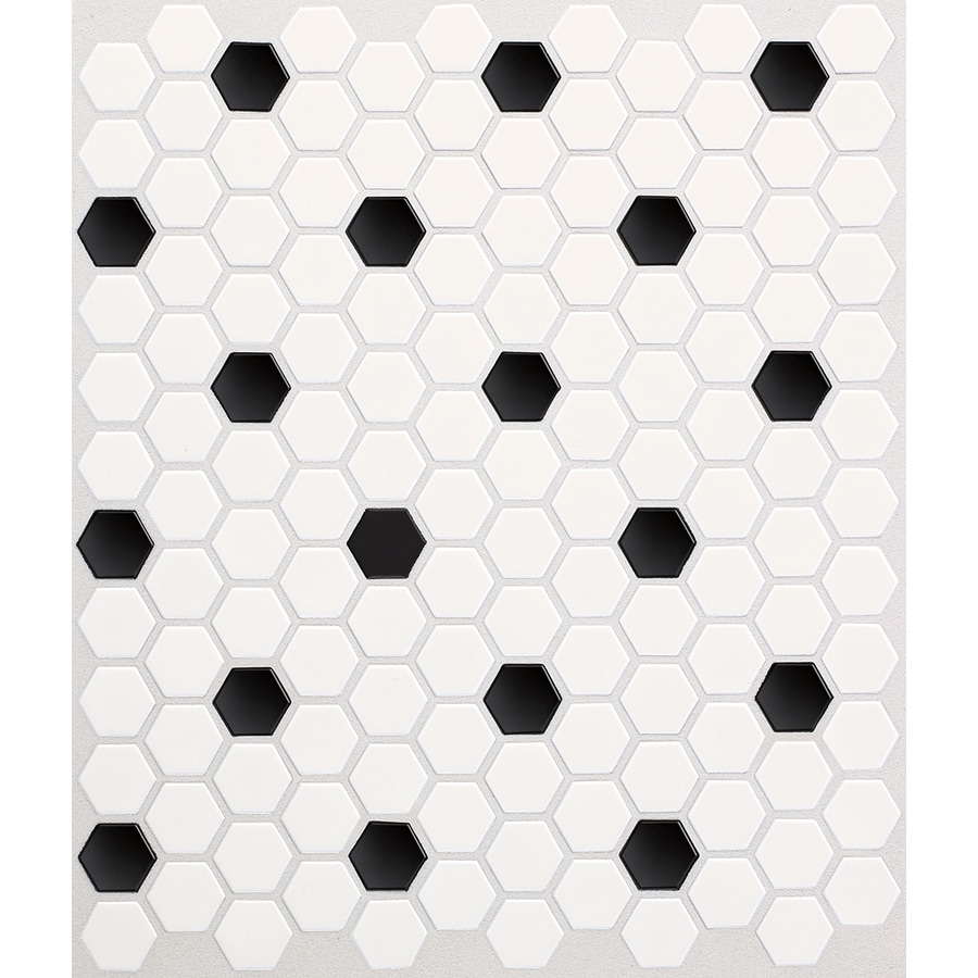 American Olean Satinglo Hex 10 Pack Ice White With Black Dot Ceramic Honeycomb Mosaic Floor