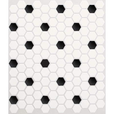 Satinglo Hex 10 Pack Ice White With Black Dot 11 In X 12 Ceramic Honeycomb Mosaic Floor And Wall Tile Common Actual 5