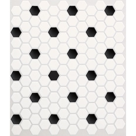 American Olean Satinglo Hex 10 Pack Ice White With Black Dot Honeycomb  Mosaic Ceramic Floor Part 90