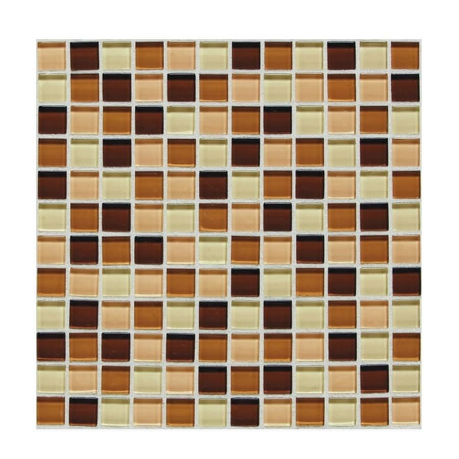 American Olean 12-in x 12-in Delfino Marshmallow Glass Mosaic Square Wall Tile (Actuals 12-in x 12-in)