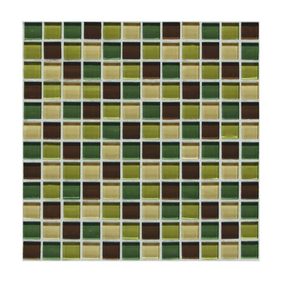 American Olean 12-in x 12-in Delfino Glass River Bank Glass Wall Tile