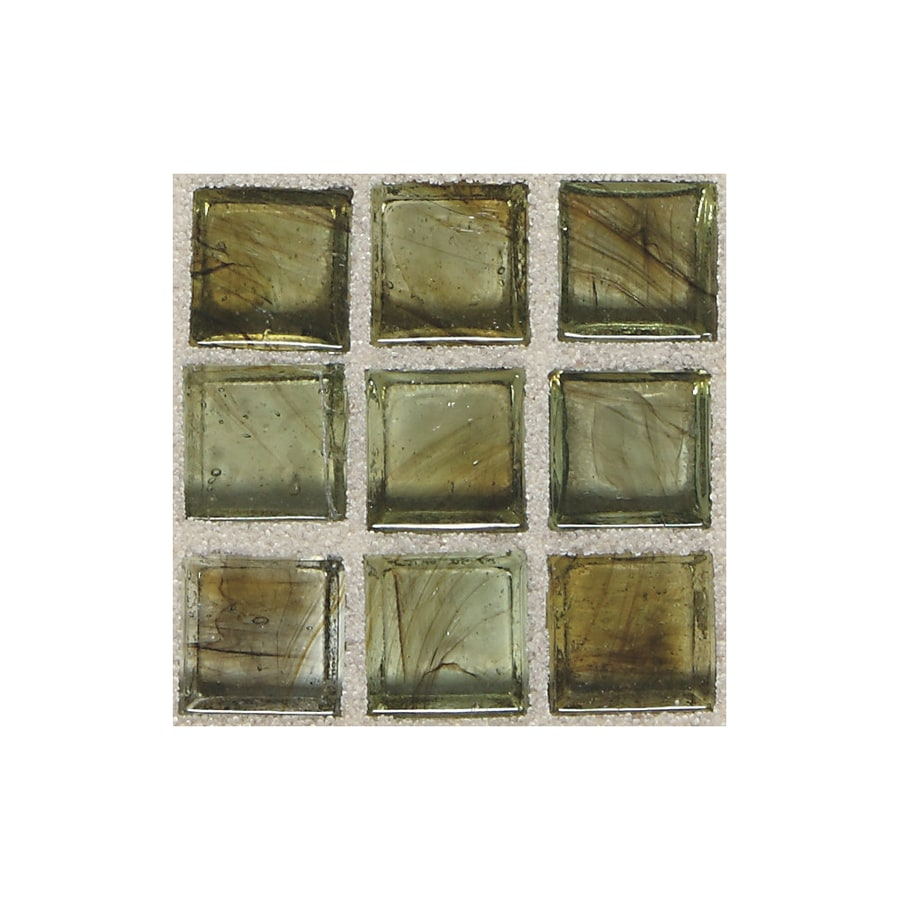 American Olean Visionaire Summer Storm Uniform Squares Mosaic Glass Wall Tile (Common: 13-in x 13-in; Actual: 12.87-in x 12.87-in)