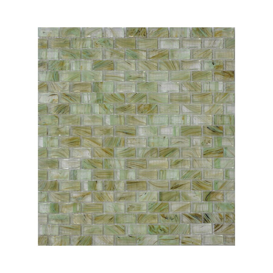 American Olean Visionaire Meadow Breeze Brick Mosaic Glass Wall Tile (Common: 13-in x 13-in; Actual: 12.87-in x 12.87-in)