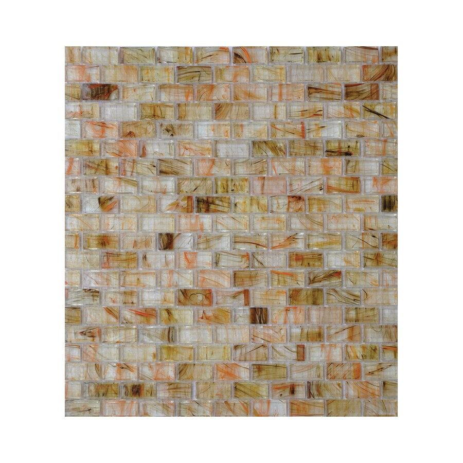 American Olean Visionaire Warm Sunset Brick Mosaic Glass Wall Tile (Common: 13-in x 13-in; Actual: 12.87-in x 12.87-in)