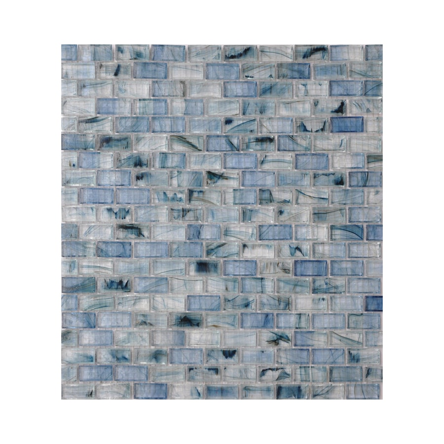 American Olean Visionaire Serenity Blue Brick Mosaic Glass Wall Tile (Common: 13-in x 13-in; Actual: 12.87-in x 12.87-in)
