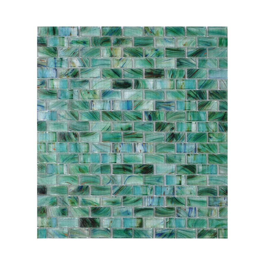American Olean Visionaire Peaceful Sea Brick Mosaic Glass Wall Tile (Common: 13-in x 13-in; Actual: 12.87-in x 12.87-in)
