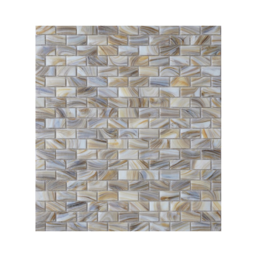American Olean Visionaire Soothing Mist Brick Mosaic Glass Wall Tile (Common: 13-in x 13-in; Actual: 12.87-in x 12.87-in)