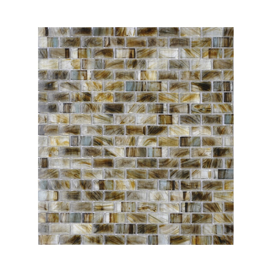American Olean Visionaire Gentle Earth Brick Mosaic Glass Wall Tile (Common: 13-in x 13-in; Actual: 12.87-in x 12.87-in)