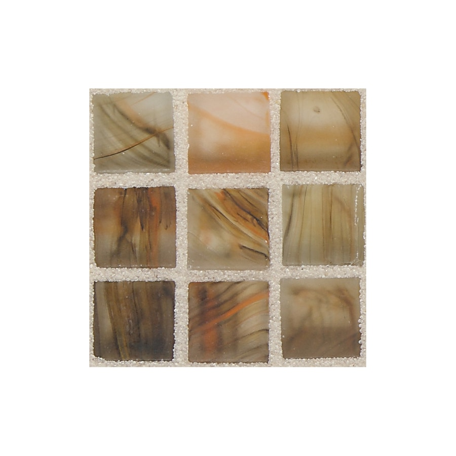 American Olean Visionaire Warm Sunset Uniform Squares Mosaic Glass Wall Tile (Common: 13-in x 13-in; Actual: 12.87-in x 12.87-in)