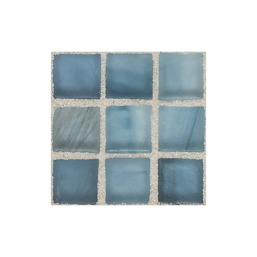 American Olean Visionaire Serenity Blue Uniform Squares Mosaic Glass Wall Tile (Common: 13-in x 13-in; Actual: 12.87-in x 12.87-in)