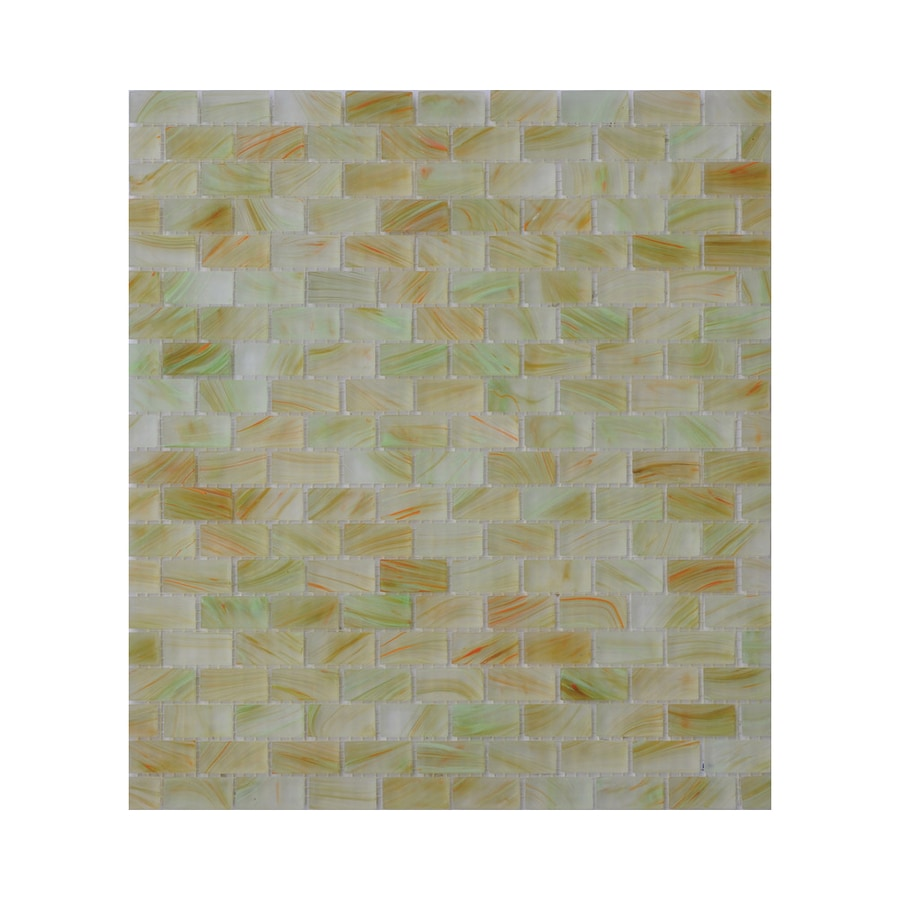 American Olean Visionaire Tranquil Spa Brick Mosaic Glass Wall Tile (Common: 13-in x 13-in; Actual: 12.87-in x 12.87-in)