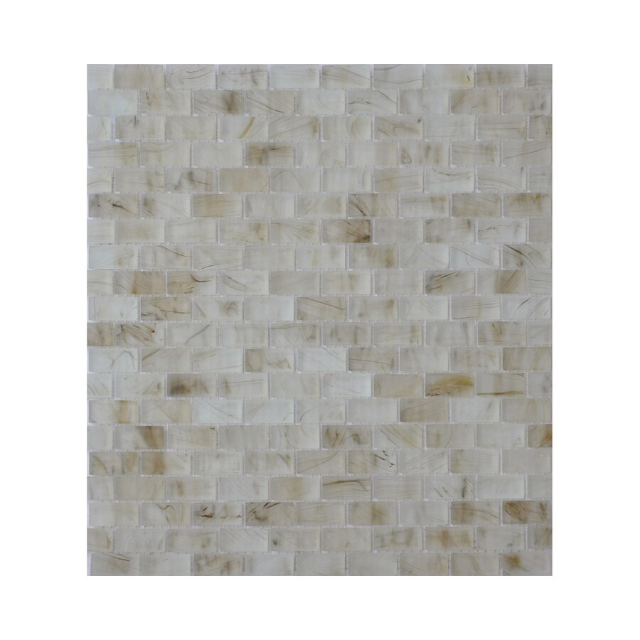 American Olean Visionaire Smokey Ballad Brick Mosaic Glass Wall Tile (Common: 13-in x 13-in; Actual: 12.87-in x 12.87-in)