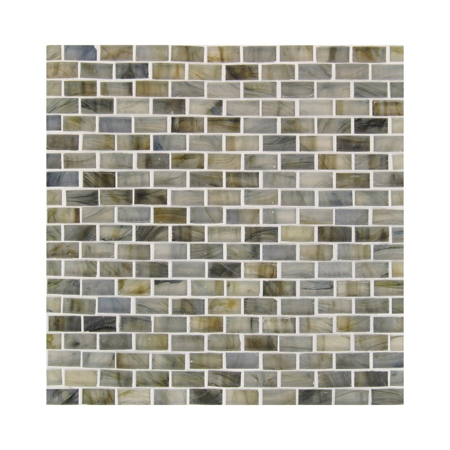 American Olean Visionaire Whispering Stream Brick Mosaic Glass Wall Tile (Common: 13-in x 13-in; Actual: 12.87-in x 12.87-in)