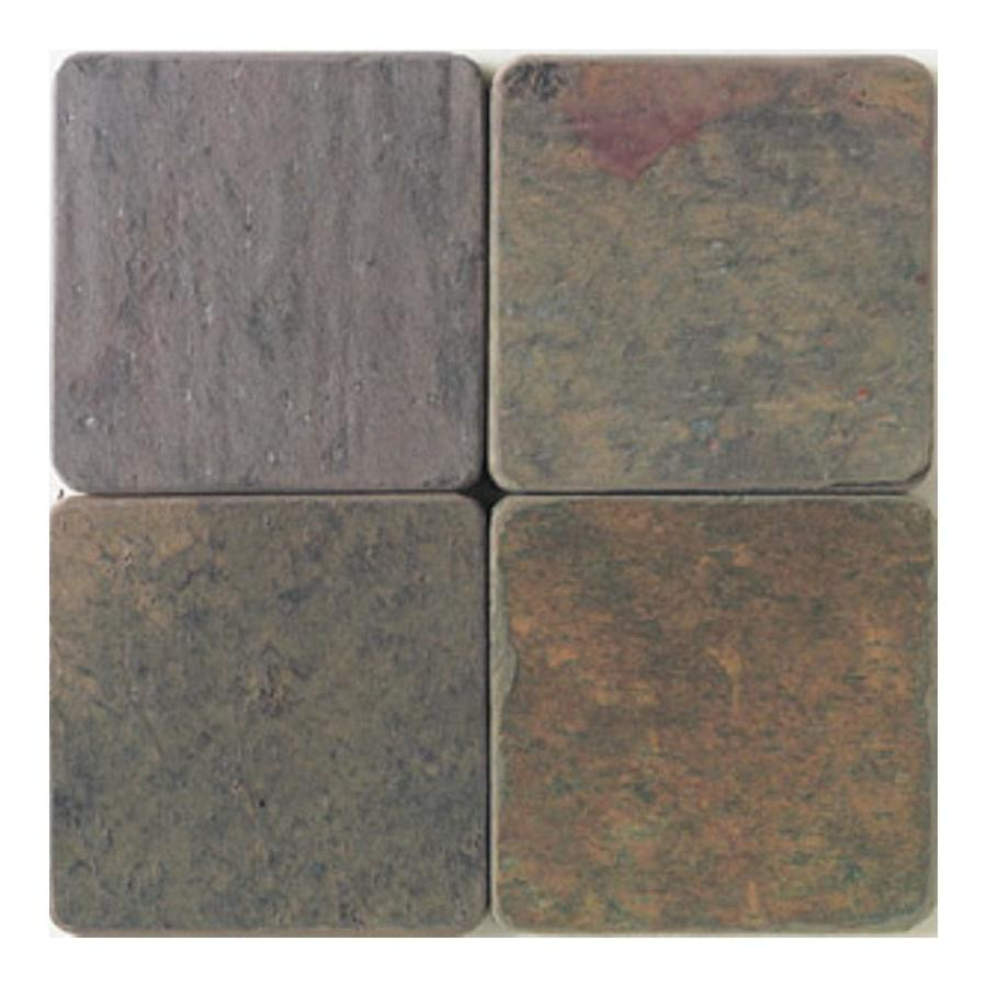 American Olean Tumbled Stone 54-Pack Indian Multicolor Uniform Squares Slate Floor and Wall Tile (Common: 4-in x 4-in; Actual: 3.75-in x 3.75-in)