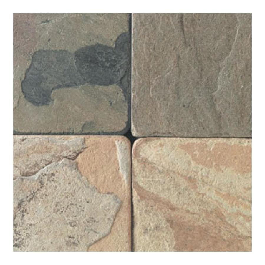 American Olean Tumbled Stone 54-Pack Autumn Mist Uniform Squares Slate Floor and Wall Tile (Common: 4-in x 4-in; Actual: 3.75-in x 3.75-in)