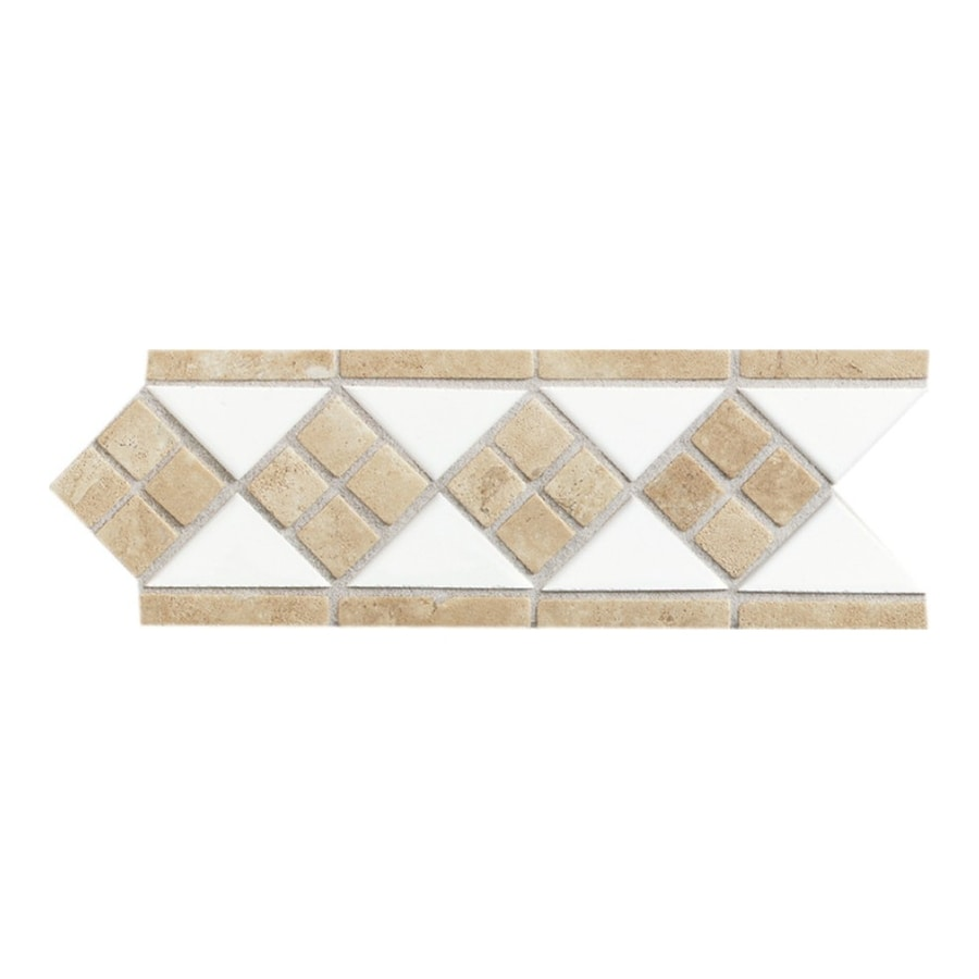 American Olean Designer Elegance Ice White Ceramic Listello Tile (Common: 4-in x 12-in; Actual: 4-in x 12-in)
