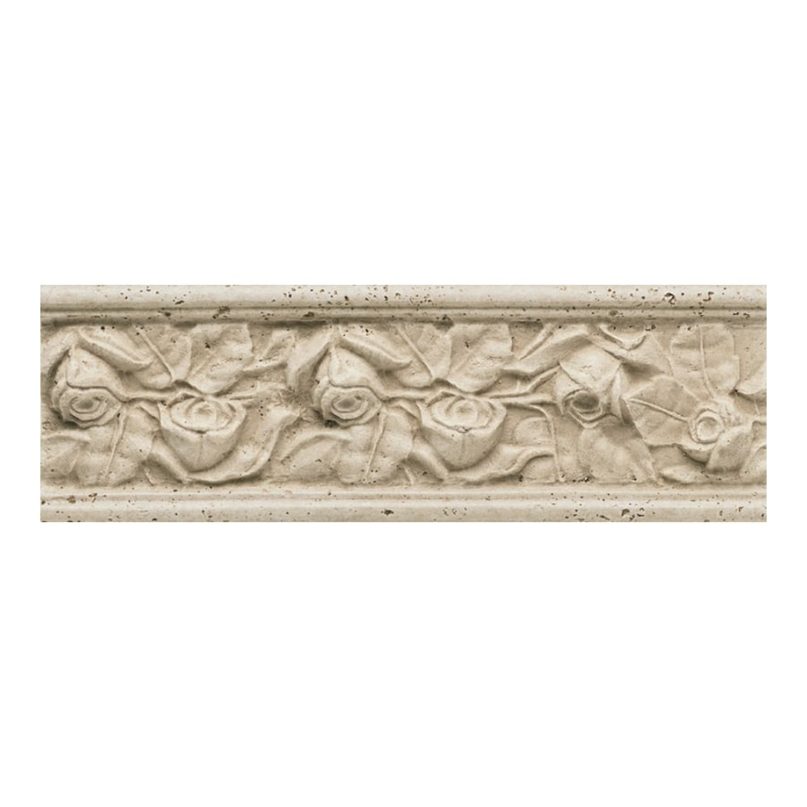 American Olean Designer Elegance Rosa A Rilievo Ceramic Listello Tile (Common: 4-in x 13-in; Actual: 4-in x 13-in)