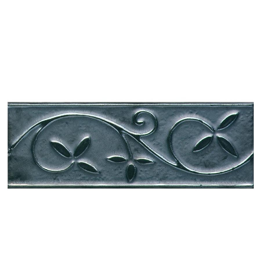 American Olean 3-in x 8-in Designer Elegance Metallic Vine Ceramic Listello Tile