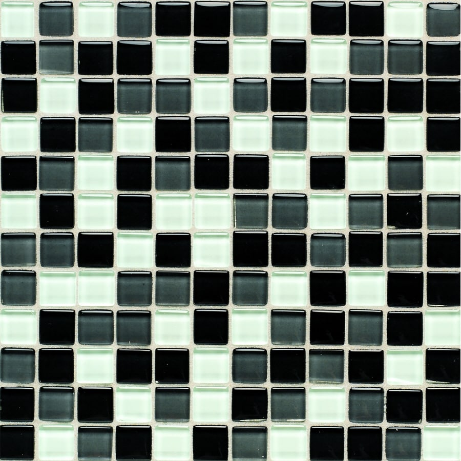 American Olean Legacy Glass Black Blend Glass Mosaic Square Indoor/Outdoor Wall Tile (Common: 12-in x 12-in; Actual: 11.87-in x 11.87-in)