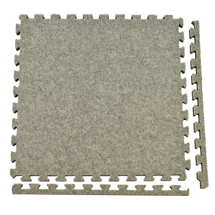 Greatmats Royal Carpet 25-Pack 24-in x 24-in Light Gray Plush Floating Carpet Tile