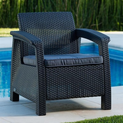 Corfu Rattan Plastic Stationary Conversation Chairs With Charcoal Cushioned Seat