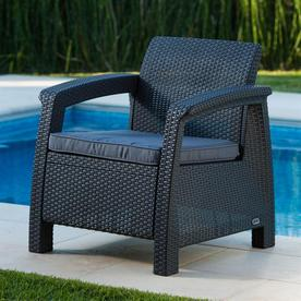 Attrayant Keter Corfu Rattan Plastic Stationary Conversation Chair(s) With Charcoal  Cushioned Seat