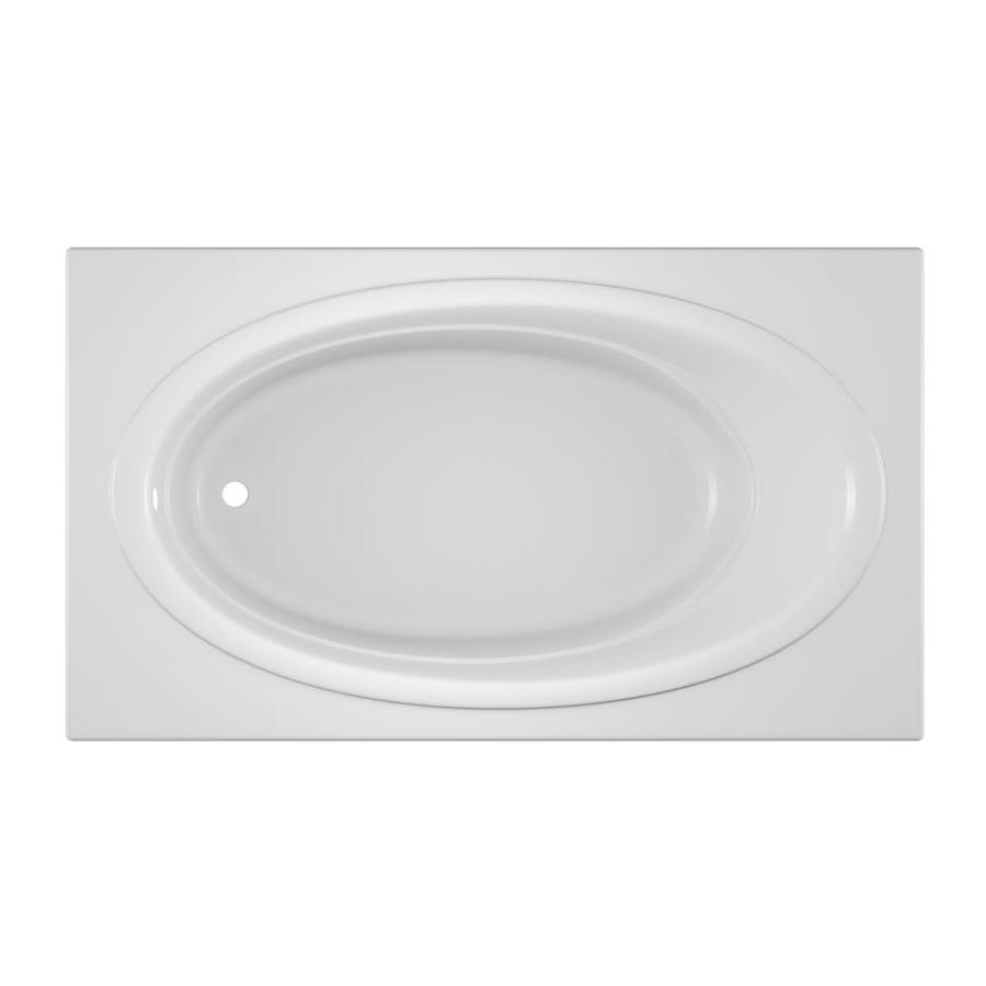 Jacuzzi Nova Acrylic Oval In Rectangle Drop-in Bathtub with Reversible Drain (Common: 42-in x 72-in; Actual: 20.5-in x 42-in x 72-in)