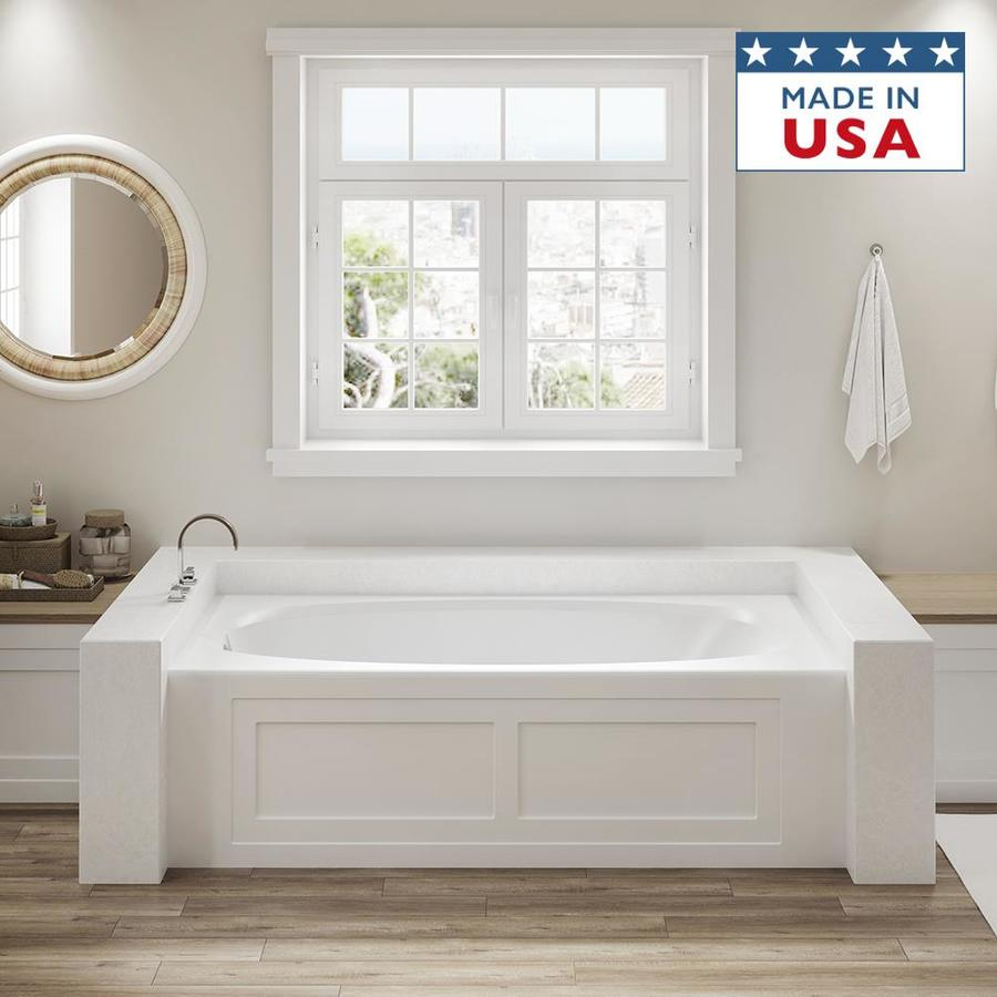 Jacuzzi Amiga White Acrylic Oval In Rectangle Drop-in Bathtub with Reversible Drain (Common: 36-in x 72-in; Actual: 20.75-in x 36-in x 72-in)