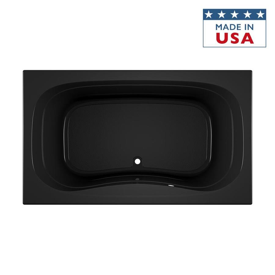 Jacuzzi Signa Black Acrylic Rectangular Drop-In Bathtub with Center Drain (Common: 42-in x 72-in; Actual: 22-in x 42-in x 72-in)