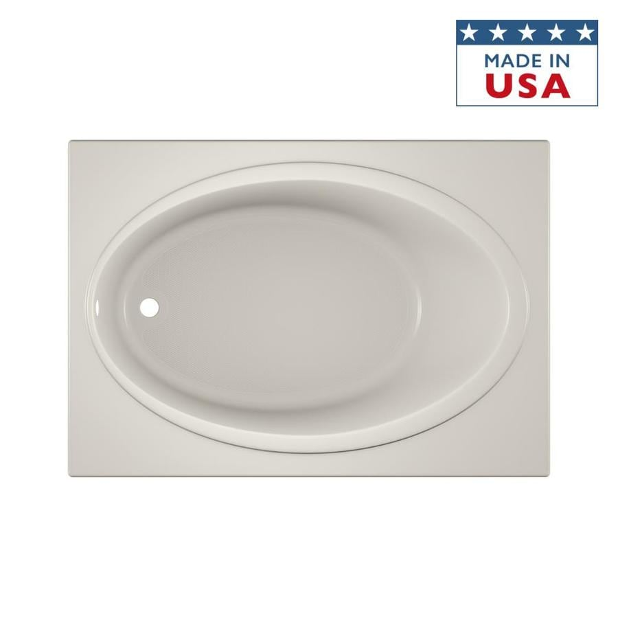 Jacuzzi Nova Oyster Acrylic Oval In Rectangle Drop-In Bathtub with Reversible Drain (Common: 42-in x 60-in; Actual: 18.5-in x 42-in x 60-in)