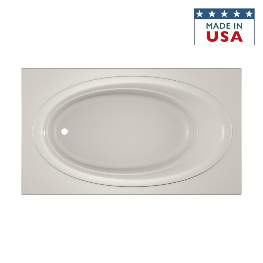 Jacuzzi Nova Oyster Acrylic Oval In Rectangle Drop-In Bathtub with Reversible Drain (Common: 42-in x 72-in; Actual: 20.5-in x 42-in x 72-in)