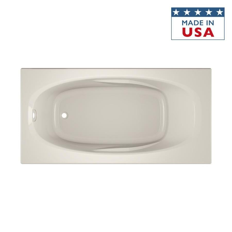 Jacuzzi Amiga Oyster Acrylic Oval In Rectangle Drop-in Bathtub with Reversible Drain (Common: 36-in x 72-in; Actual: 20.75-in x 36-in x 72-in)