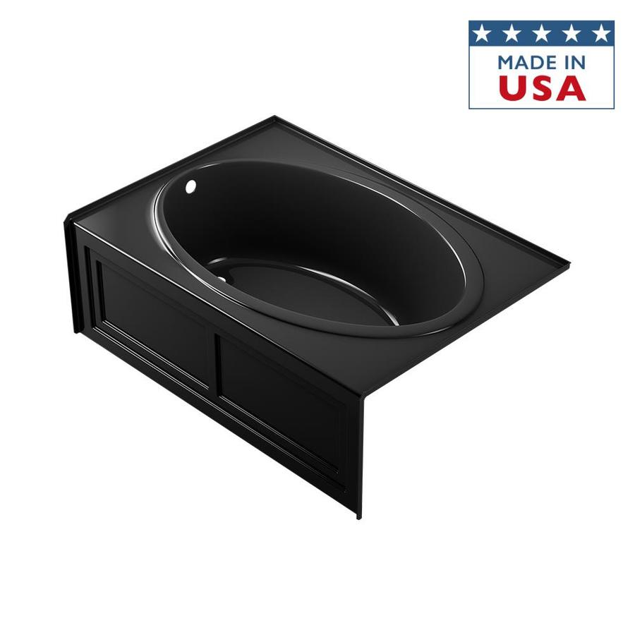 Jacuzzi Nova Black Acrylic Oval In Rectangle Skirted Bathtub with Left-Hand Drain (Common: 42-in x 60-in; Actual: 18.5-in x 42-in x 60-in)